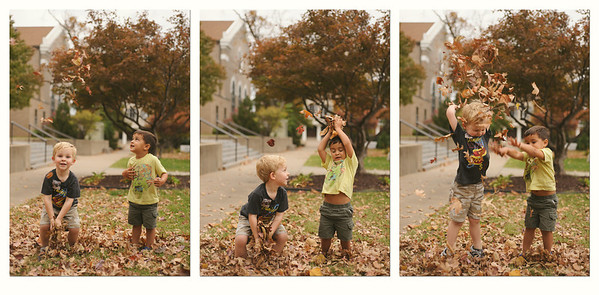 10-22-12.  James and Reed throwing leaves after school.