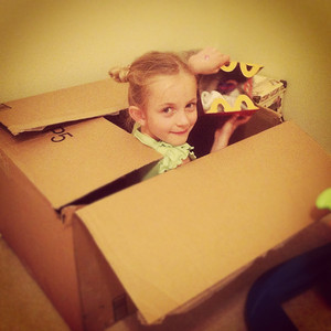 11-06-12.  Boxes make the best toys.  Even the happy meal box is better than the toy that was inside.  When I came home from work yesterday, both kids were inside this box, anxiously waiting to jump out and scare me as I walked by.  Hysterical laughing ensued when they finally jumped out.
