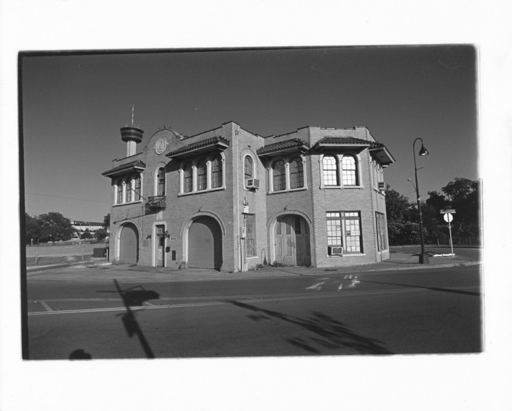 Here I'm doing some of my own developing and printing. This is an abandoned firehouse on S. Alamo in San Antonio.<br /> Voigtlander R4a, CV 21/4