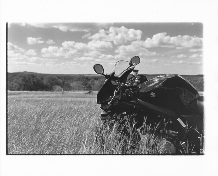 My new bike in the tall grass. Also processed and printed by hand.<br /> R4a, CV40/1.4