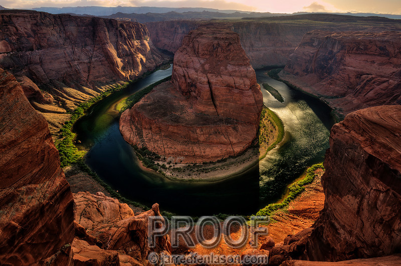 """Sunset at Horseshoe Bend""<br /> <br /> Horseshoe Bend is located in Page, Arizona.  As the water leaves Lake Powell and the Glenn Canyon Dam it turns into the Colorado River, running through this bend and rushing onward towards the Grand Canyon.  This is one of my favorite spots to photograph.  It's a short 1.5 mile hike to reach the bend.  With no guard rails or safety system the idea is to get as close to the edge as possible making sure to avoid the 1,100 foot straight drop.  For this photograph I set my tripod and camera literally over the edge and used a remote to snap the photo.  I waited about two hours to get the right lighting.  Horseshoe Bend is an amazing and inspirational place declaring the beauty of God's handiwork."