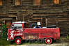"""Little Red Pickup"" <br /> <br /> While driving through a little mining town in Colorado we noticed this truck asking to have its picture taken.  We obliged him.  And I think he is actually very photogenic.  Thanks little red pickup!  This picture is comprised of three photographs which pull in the full dynamic range of color & lighting.  Then I ultra sharpened the final product to show distinct details."