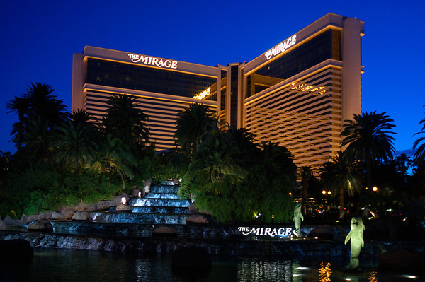 The fabulous Mirage hotel and casino at dusk.