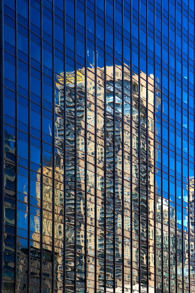 A downtown Chicago building reflection.