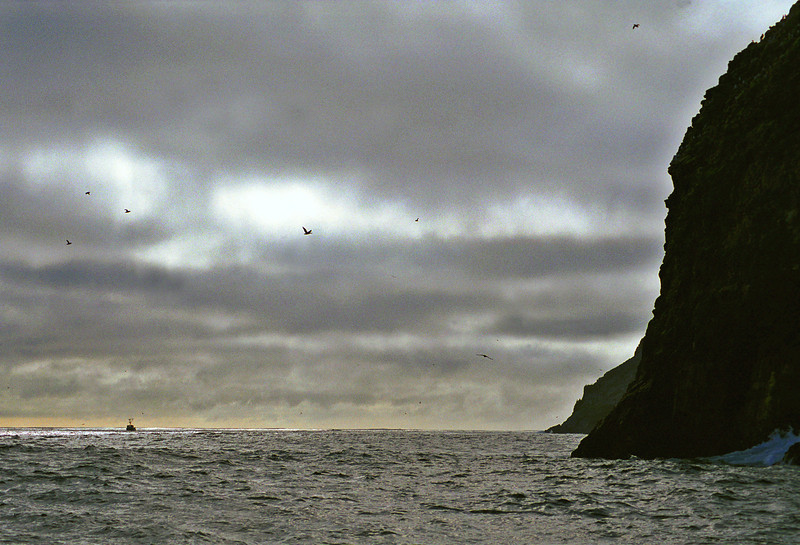 A commercial fishing boat works the fishing grounds around South Farallon Island, 25 nm west of the Golden Gate Bridge.