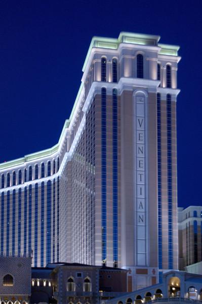 The beautiful Venetian Hotel radiates a cool glow in the evening twilight.