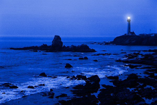 Twilight settles on the Pigeon Point lighthouse located south of San Francisco, CA.