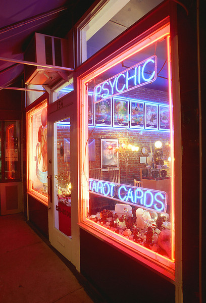 A mystic glow eminates from a local psychic studio located on famous Beale Street in downtown Memphis, TN.