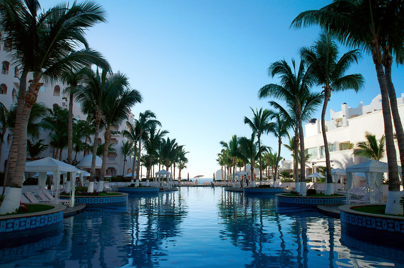 The early morning sky is reflected in the pool at the Pueblo Bonita Rose resort in Cabo San Lucas, Mexico.