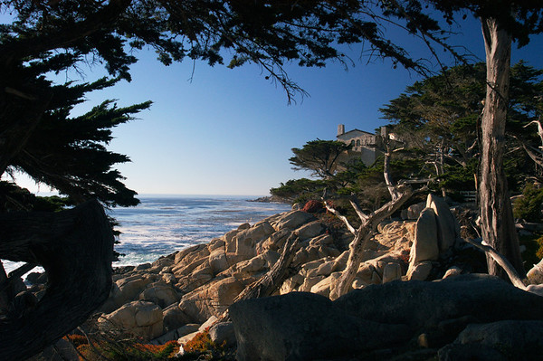 A tranquil view of Monterey Bay from a seaside estate.