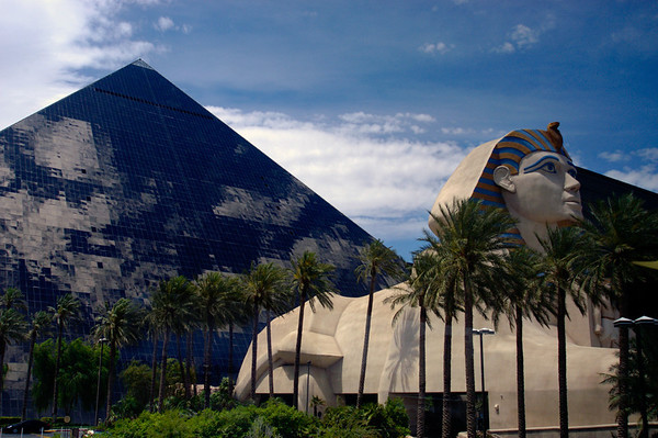 The sphinx keeps watch over the massive Luxor hotel in Las Vegas.