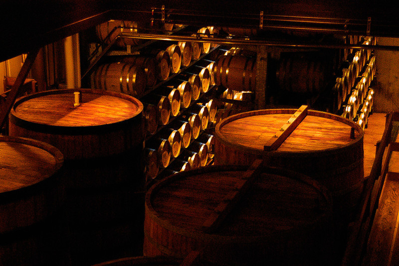 One of the many wine aging rooms at the Sterling Vineyards winery near Calistoga, CA.