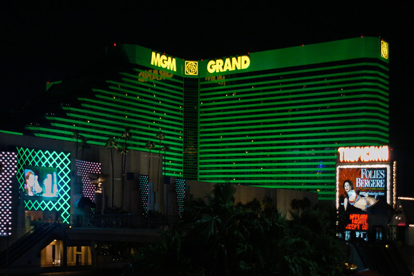 The MGM Grand hotel in Las Vegas lights up the night with its signature green glow.