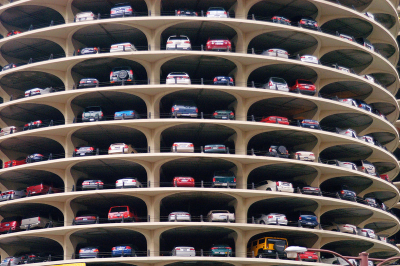 Parking is really stacked up in downtown Chicago.