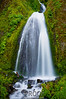 """""""Wahkeena Falls""""  <br /> <br /> The Columbia River Gorge in northern Oregon is home to dozens of impressive waterfalls.  The Wahkeena Falls is one of my favorites.  I love the contrast of the white water against the green covered rock.  This waterfall is a little tricky to photograph as the trail passes right under the falls and this produces a continual spray of water at the camera.  It took several shots until I captured one with a dry lens.  I shot the waterfall with a 1/2 second exposure to show the movement of the water."""