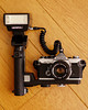 Olympus OM-2N with T32 flash unit and bracket (early 1980s)