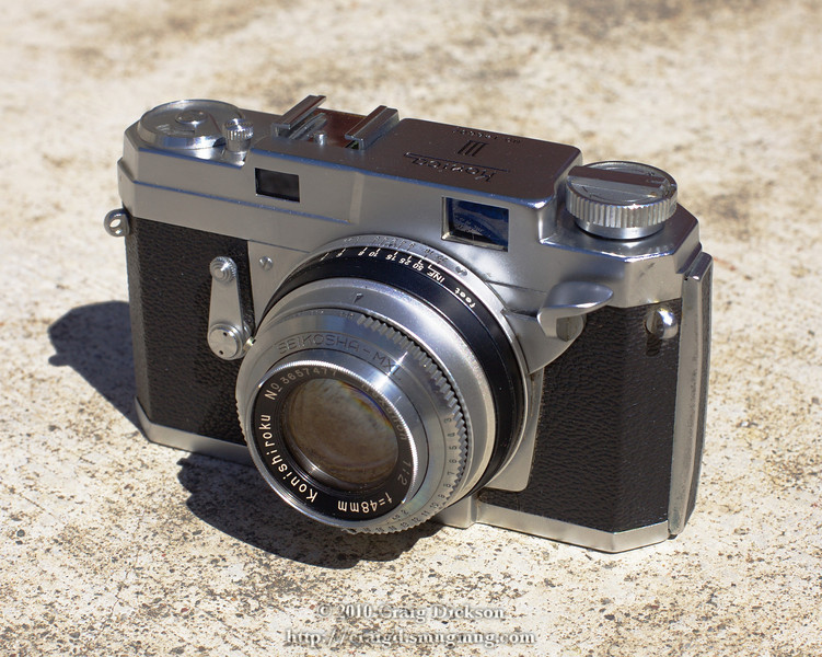 Konica III rangefinder with Seikosha MXL leaf shutter and fixed Hexanon 48mm f/2 lens (1957)