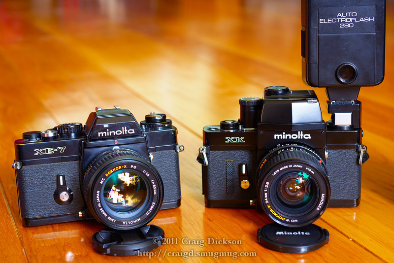 Minolta XE-7 and XK cameras with MC Rokkor-X 50mm f/1.4 and MD W.Rokkor-X 24mm f/2.8 lenses