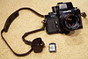 Minolta XK with Auto Electro viewfinder, MC Rokkor-X PG 50mm f/1.4 lens, and accessory hot shoe with case (c. 1973)