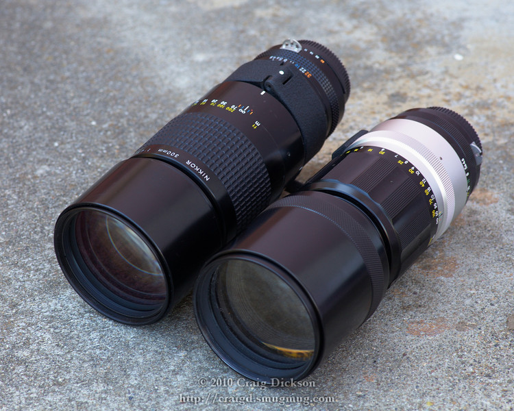 Two Nikkor 300mm f/4.5 lenses: an AI-s version from the 1980s or '90s (left) and a pre-AI version from about 1972 (right).