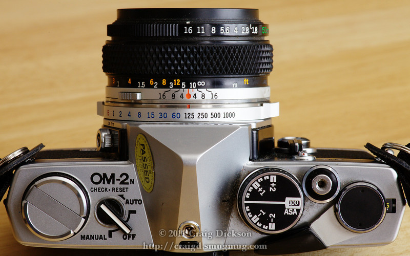 Olympus OM-2N with 50mm f/1.8 lens (early 1980s) - top view