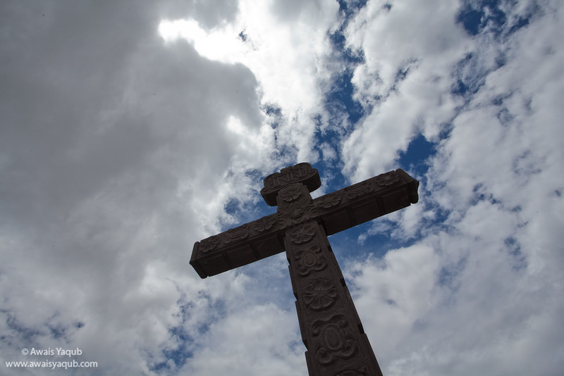 Cross and Church over Cholula pyramid