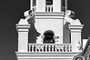 Detail, west bell tower, Mission San Xavier del Bac - BW version