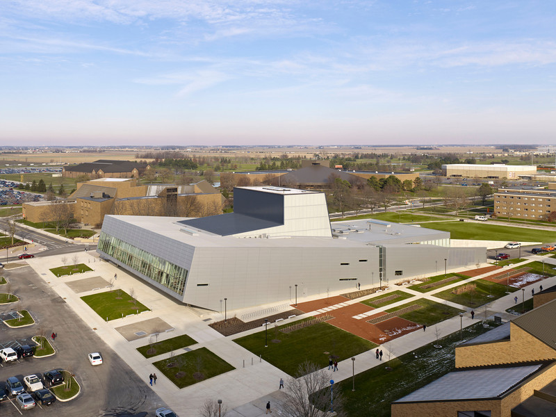 Bowling Green State University Wolfe Center for the Arts<br /> Architect: Snøhetta<br /> Location: Bowling Green, Ohio
