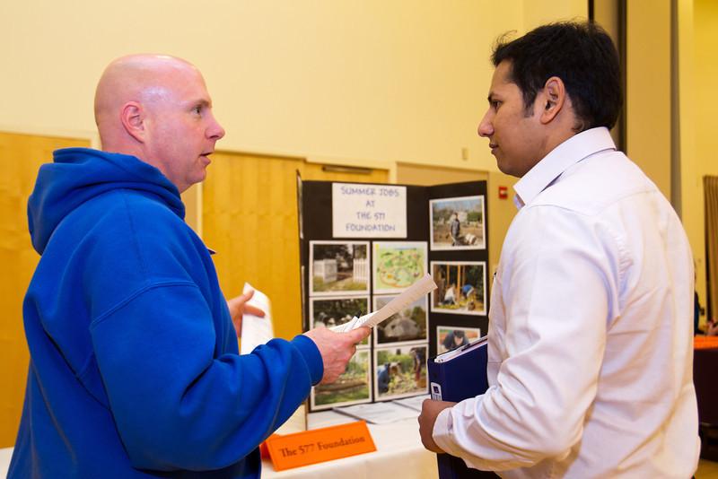 Jay Wagoner of The 577 Foundation speaks with BGSU student Akshay Joshi at the Summer Job Fair