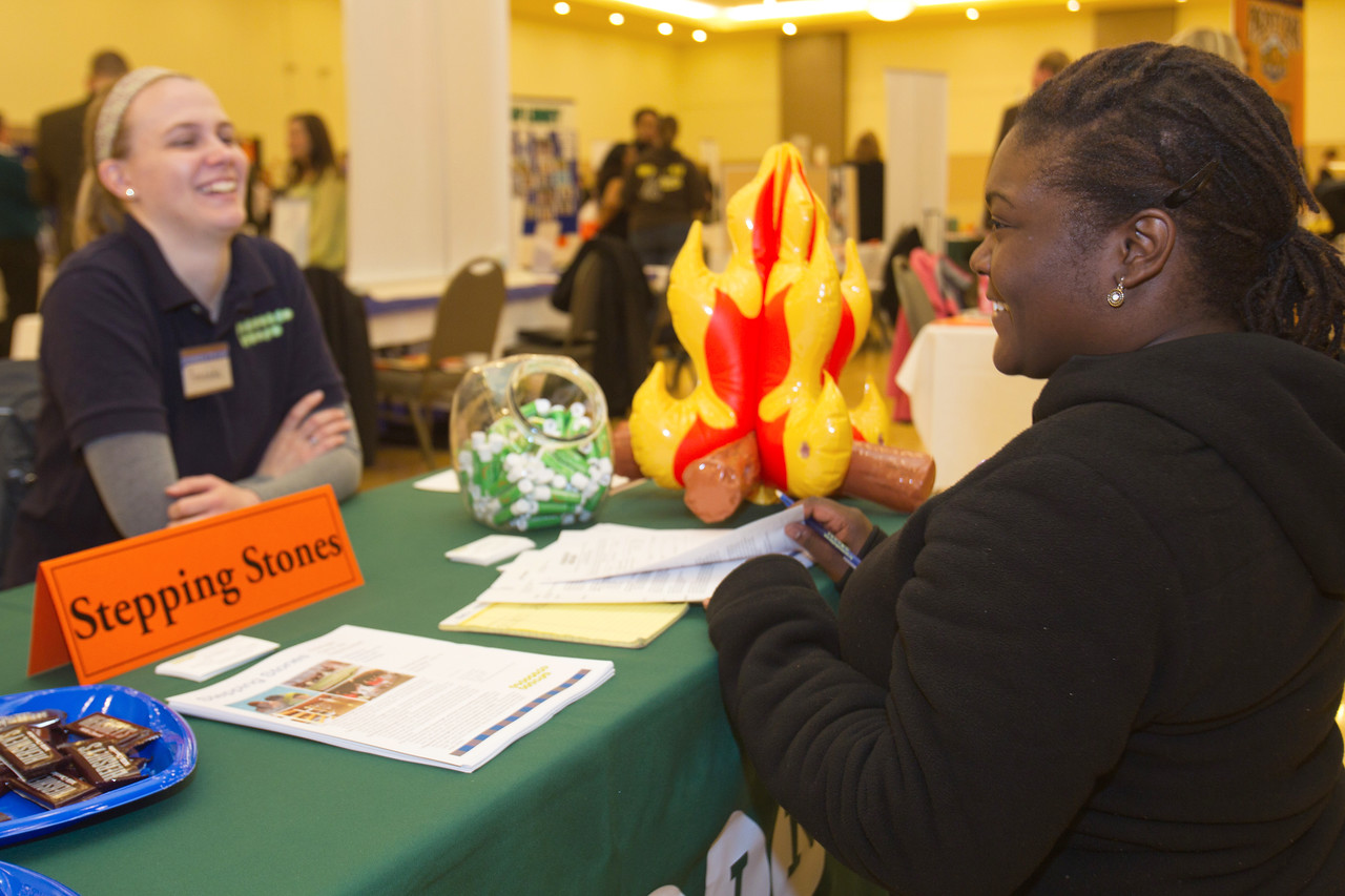 BGSU Student, Kim Person (on right) at the Summer Job Fair