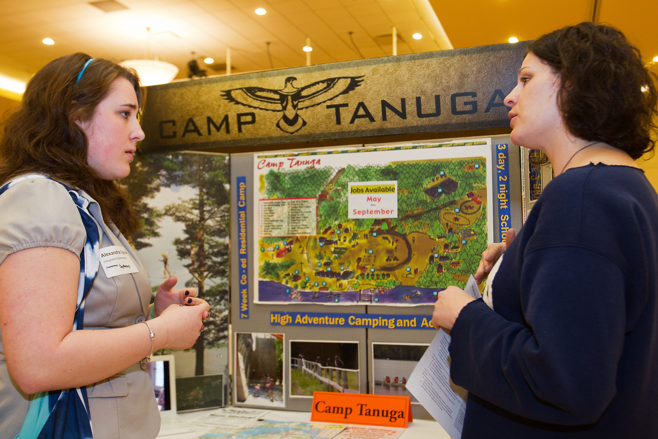 BGSU Student, Alexandra Ogonek, speaks with Rachel Berg of Camp Tanuga at the Summer Job Fair