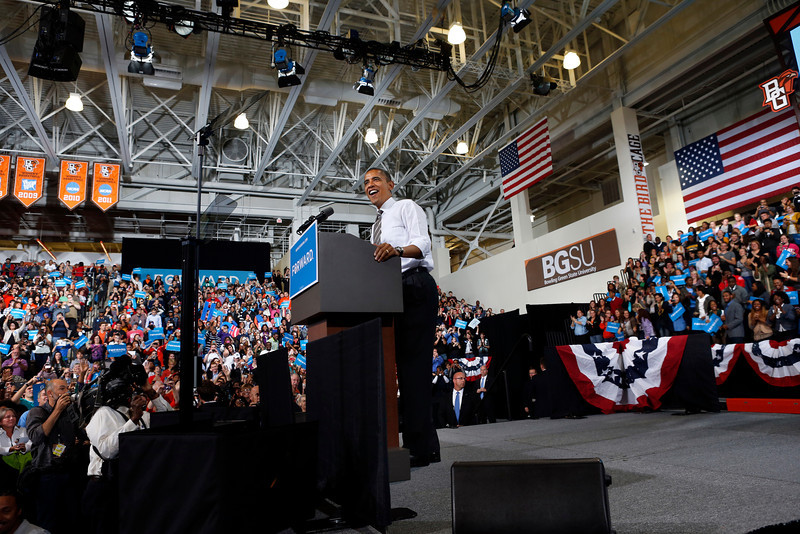 President Barak Obama addresses a crowd of supporters in the Stroh Center at Bowling Green State university during a campaign stop on September 26, 2012.