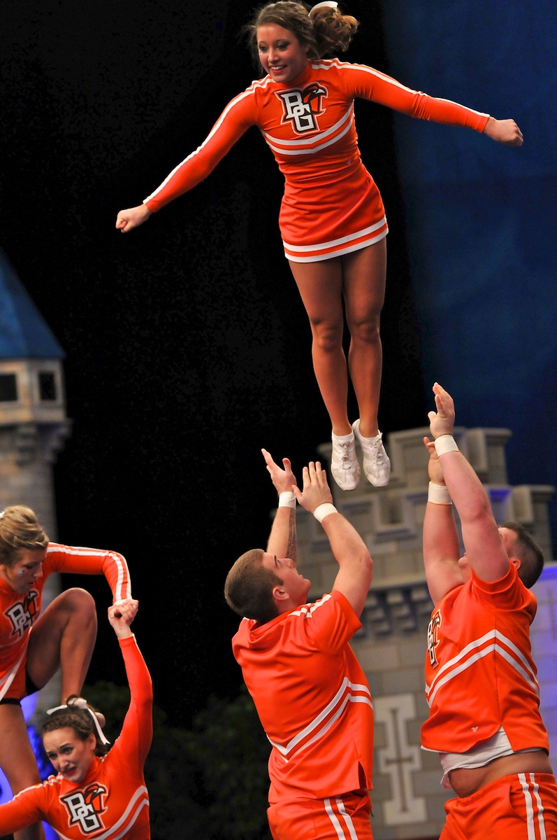 Bowling Green State University compete in the UCA/UDA College Cheerleading National Championships at Disney's Wide World of Sports Complex, Lake Buena Vista, Saturday, January 14, 2012.