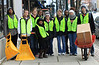 BGSU Students bundled up and showing off their trendy vests before removing decorations on Main Street