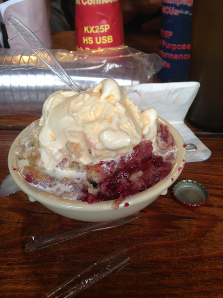 Home made Pecan Pie, Blackberry and Peach Cobbler with Scoop of Ice Cream, at The SALT LICK, AUSTIN