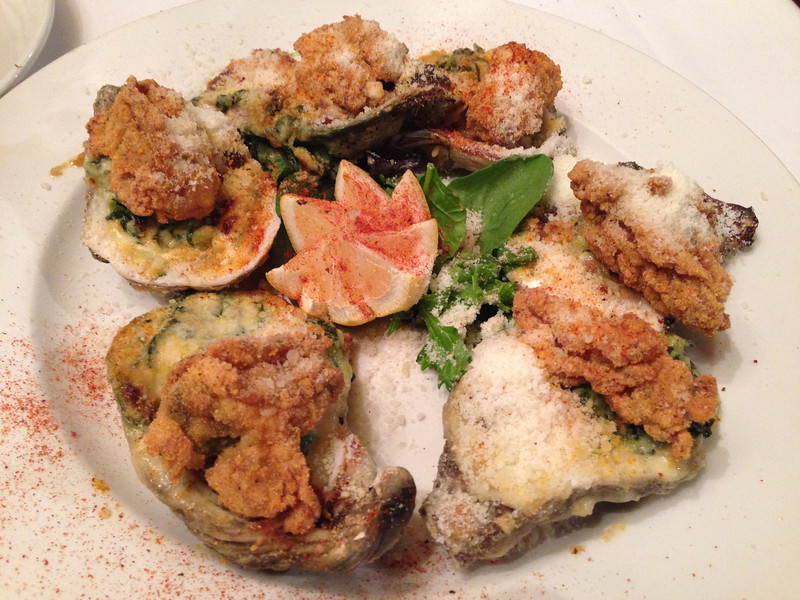 Oysters Rockefeller @ Gumbo's Bee Caves, Austin<br /> baked oysters in a cream spinach pernod, with fried, oysters &parmesan
