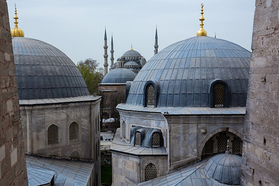 Looking out from the Hagia Sophia to the Blue Mosque