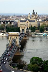 The Danube River, Szechenyi Chain Bridge, and the Ritz Hotel in Budapest