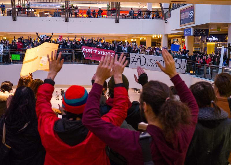 'Black Lives Matter Not Black Friday' Lloyd Center Mall action, Portland - November, 28, 2015