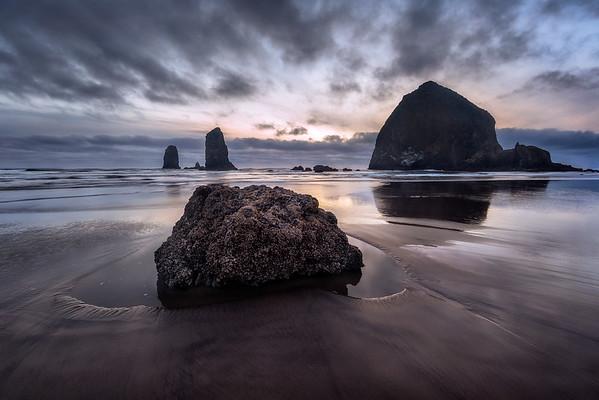 Photo of sea stacks at Cannon Beach, Oregon Coast