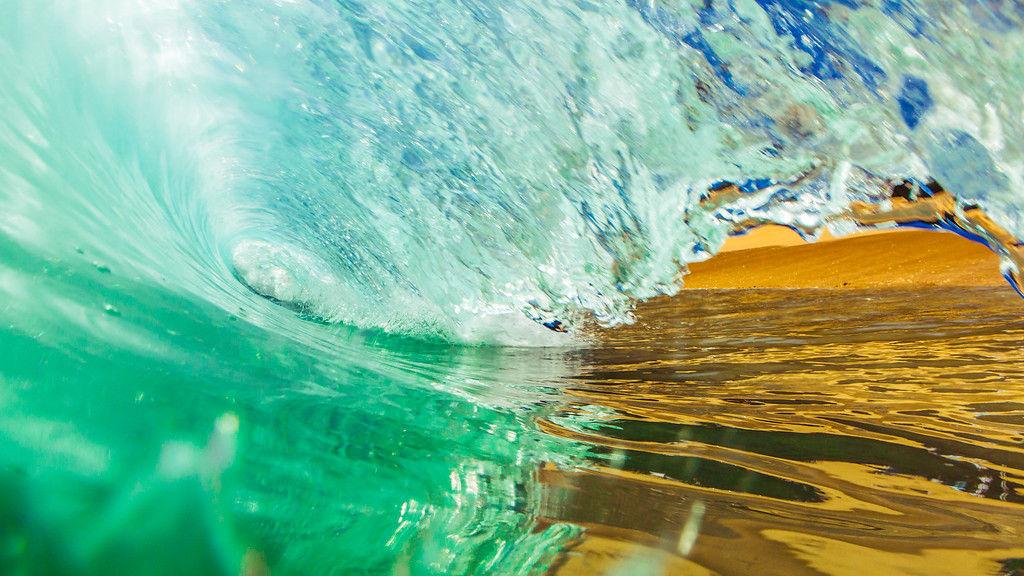 Photograph of the inside of a wave