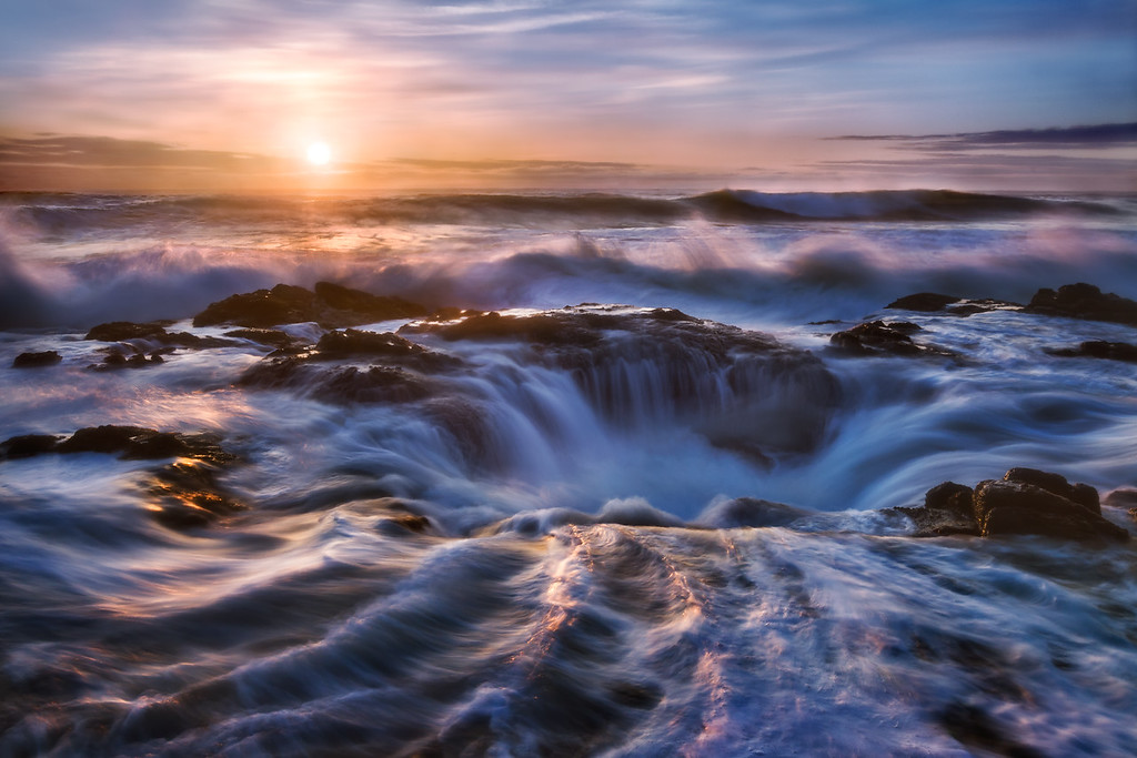 Photo of water draining in Thor's Well along the Oregon Coast