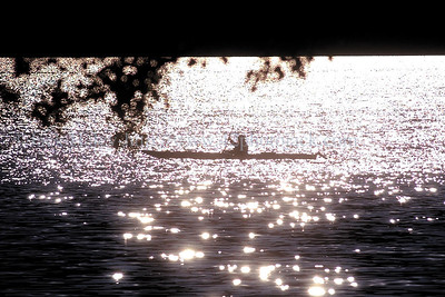 jhkayak - A kayaker paddles down near the south end of Canandaigua Lake under a bright shiny Wednesday (9/27) morning sun that makes the water sparkle.