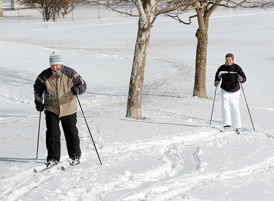 jhxcski - Joe and Amie Preston of Canandaigua broke out the cross country ski's for the first time this winter on Saturday 1/20 and made some laps around Baker Park.