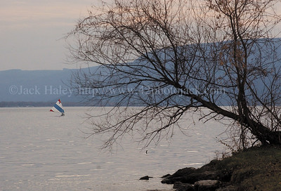 jhsailboat - A sailboat drifts slowly across Honeoye Lake late Tuesday (11-28) afternoon a small breeze and warm tempatures around.