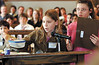 jhmocktrial3 - Attorney's for the defendent, Lissa (correct) Brautigam and Miranda Goodwin, fifth graders at Naples present evidence during the mock trial.