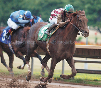 jhfunny1 - Fan favorite Funny Cide with jockey Alan Garcia aboard won the $100,000 Wadsworth Memorial Handicap race at Finger Lakes Gaming and Racing on the Fourth of July.