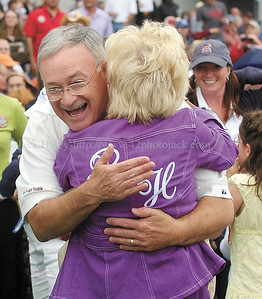 jhfunny5 - Jon P. Constance, one of the co-owners of Funny Cide gets a hug after his horse won at Finger Lakes on Thursday.