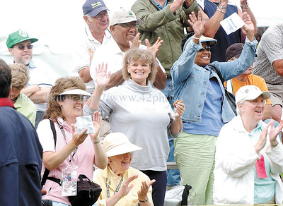 jhlopez2 - The crowd reacts as Nancy Lopez is announced  before  she tee off at the LPGA event at Locust Hill on Thursday.
