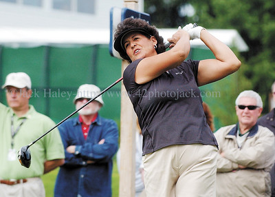jhlopez1 - Nancy Lopez watches  his first tee shot on hole one at the Wegman's International on Thursday, June 21.